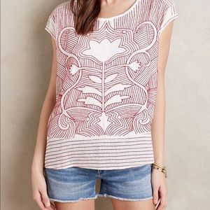 Akemi Kin Sienna embroidered blouse white red top